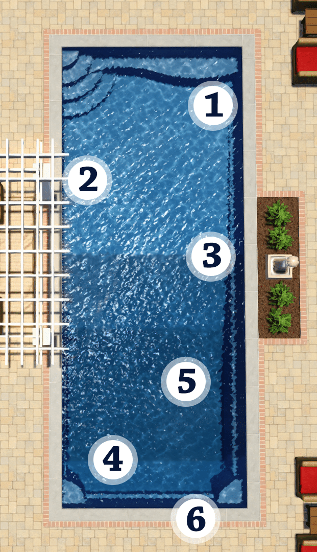 FT40 pool with features 1-6 labeled