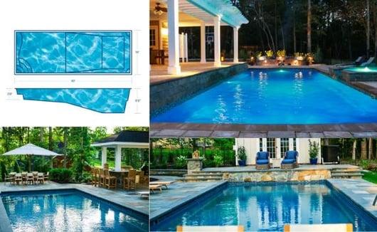 T40 deep end fiberglass swimming pool