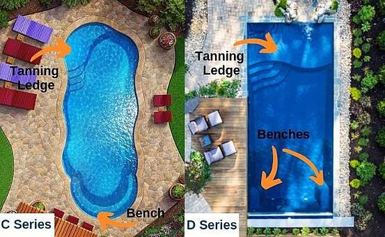 Fiberglass pools with benches and ledges - why get a fiberglass pool in Texas?