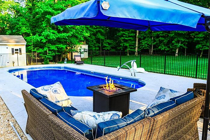 Poolside fire pit - gas burning