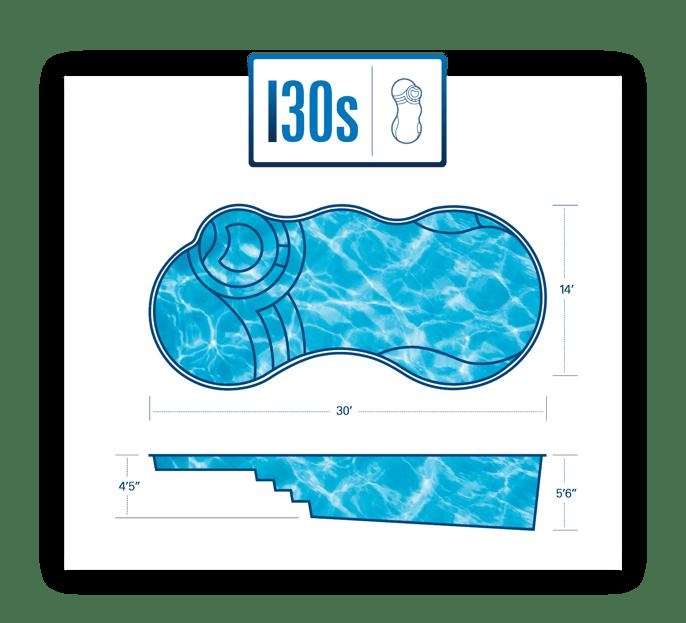 Fiberglass pool with spa model - 14x30 feet