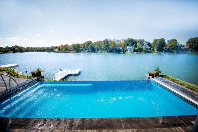 Infinity vanishing-edge fiberglass pool