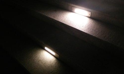 Hardscape lights embedded in concrete steps