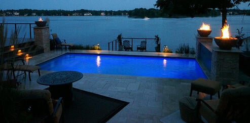 Pool landscape lighting at night