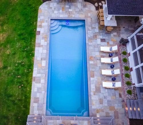 T40 fiberglass pool with asymmetrical patio
