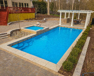 rectangular fiberglass pool (G36) with pergold and elevated tanning ledge