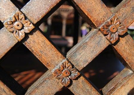 lattice wood pool fence
