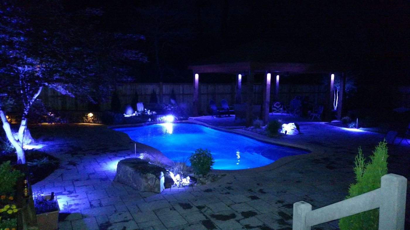 Inground pools at night Night Time Inground Pool Lights Faq Gettle Pools Inground Pool Learning Center