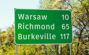 Warsaw Richmond sign