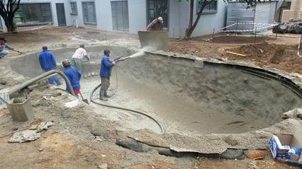Gunite-spraying-concrete
