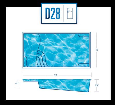 Riverpool D28 fiberglass pool