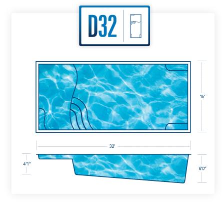Riverpools D32 fiberglass pool