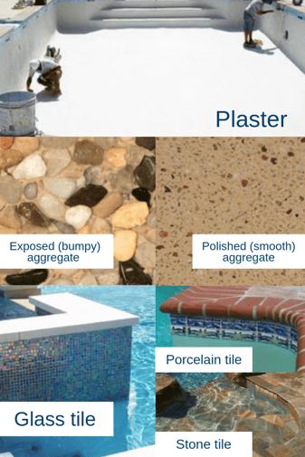 Concrete pool surface options: plaster, aggregate, tile