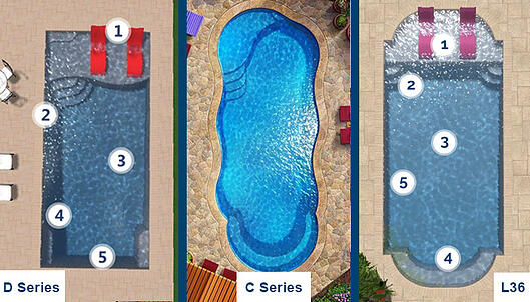 Fiberglass swimming pool with tanning ledge