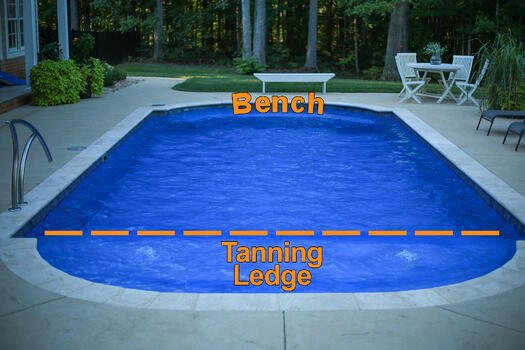 Fiberglass pool with tanning ledge and deep-end bench seating