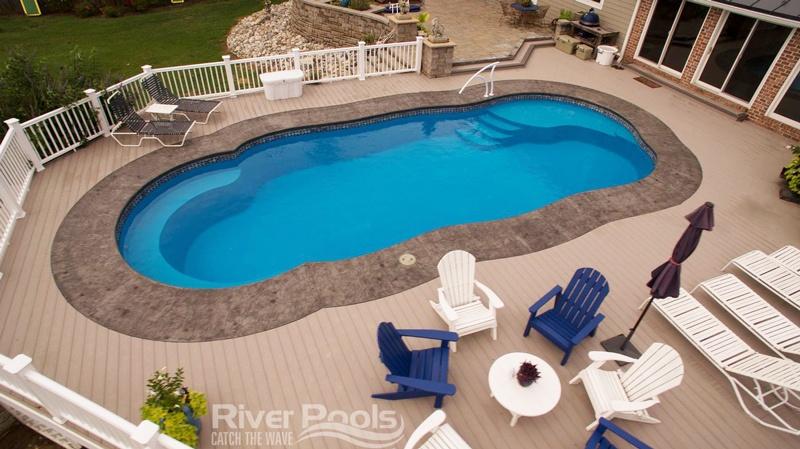 freeform C Series pool (with tanning ledge) fiberglass pool