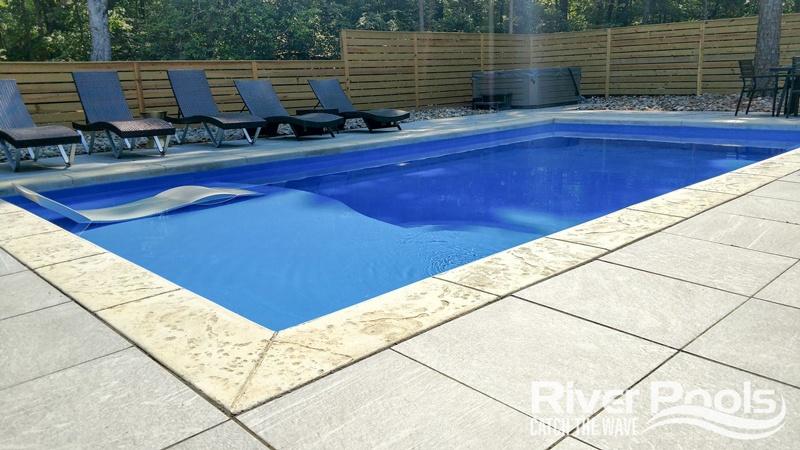rectangular D Series (with tanning ledge) fiberglass pool