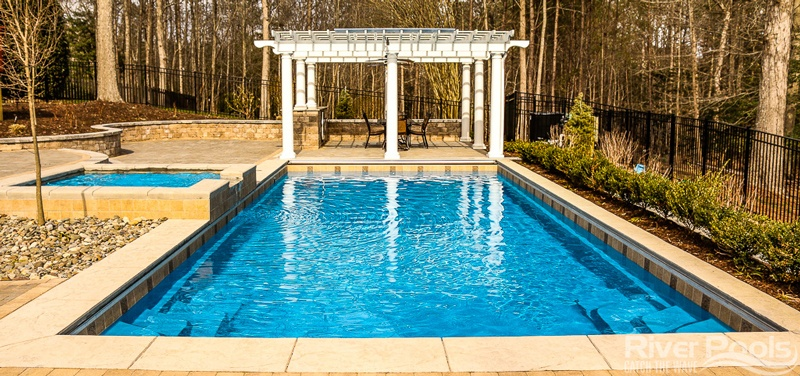 rectangular Greco fiberglass pool