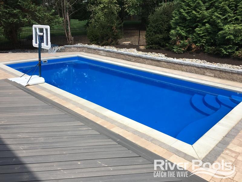 rectangular R Series fiberglass pool