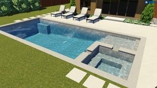 Rectangular fiberglass pool with spa and tanning ledge
