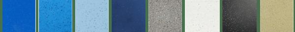 Pool gelcoat colors: Maya Shimmer, California Shimmer, Caribbean Sparkle, Azure Shimmer, Granite Grey, Arctic Shimmer, Midnight Shimmer, and Sandstone Shimmer