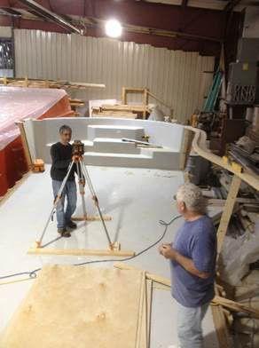 Using a laser level in a fiberglass pool pattern