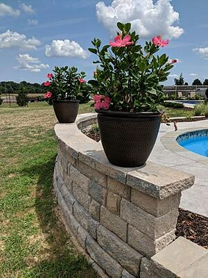 segmental retaining wall in pool park