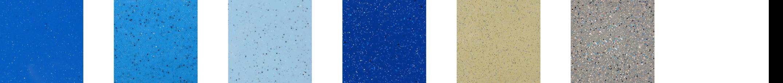 Pool color swatches: Maya Shimmer, California Shimmer, Caribbean Sparkle, Ocean Shimmer, Sandstone Shimmer, Granite Grey, and White